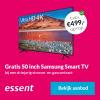 Gratis Samsung Smart TV t.w.v. €499,- bij 3 jaar Essent